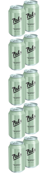 Pals Vodka Hawke's Bay Lime and Soda 10-Pack (10x330ml)