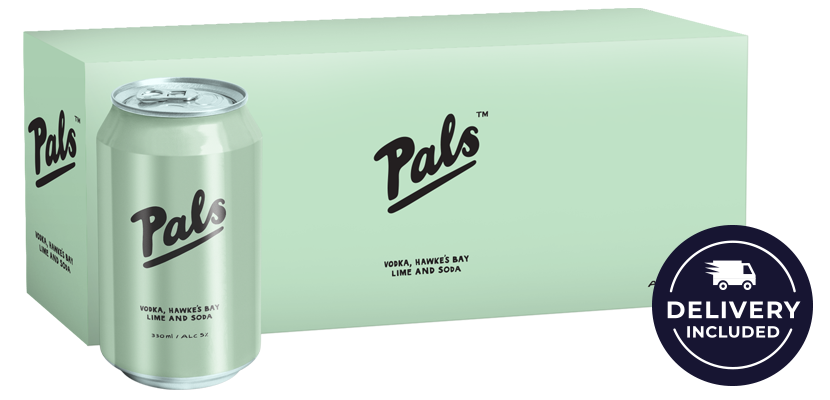Pals Vodka, Hawke's Bay Lime and Soda 10-Pack (10x330ml)