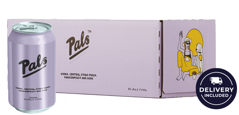 Pals Vodka, Central Otago Peach, Passionfruit and Soda 10-Pack (10x330ml)