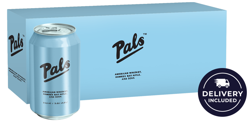 Pals American Whiskey, Hawke's Bay Apple and Soda 10-Pack (10x330ml)